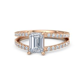 Emerald Diamond 18K Rose Gold Ring with Diamond