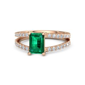 Emerald-Cut Emerald 18K Rose Gold Ring with Diamond