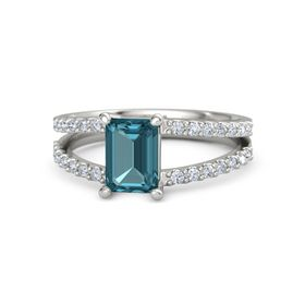 Emerald-Cut London Blue Topaz 18K White Gold Ring with Diamond