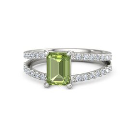 Emerald-Cut Peridot 18K White Gold Ring with Diamond