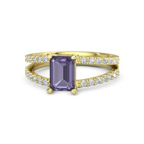 Emerald-Cut Iolite 18K Yellow Gold Ring with Diamond