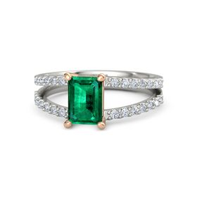 Emerald-Cut Emerald Palladium Ring with Diamond