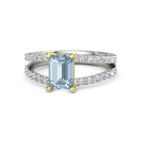 Emerald Aquamarine Palladium Ring with Diamond