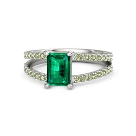 Emerald Emerald Palladium Ring with Peridot
