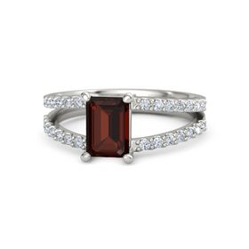 Emerald-Cut Red Garnet Palladium Ring with Diamond