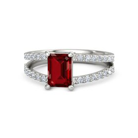 Emerald Ruby Palladium Ring with Diamond