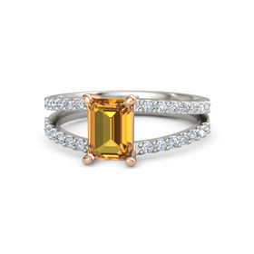 Emerald Citrine Platinum Ring with Diamond