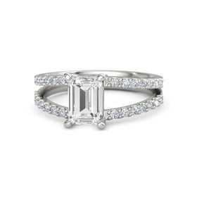 Emerald-Cut White Sapphire Platinum Ring with Diamond