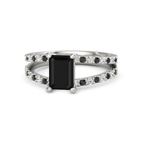 Emerald Black Onyx Platinum Ring with Black Diamond and White Sapphire