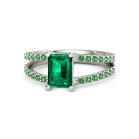Emerald Emerald Platinum Ring with Emerald