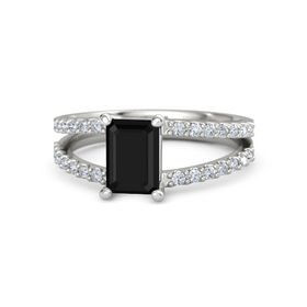 Emerald Black Onyx Platinum Ring with Diamond