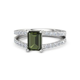 Emerald Green Tourmaline Sterling Silver Ring with Diamond