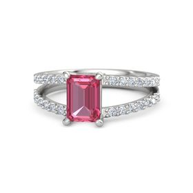 Emerald Pink Tourmaline Sterling Silver Ring with Diamond
