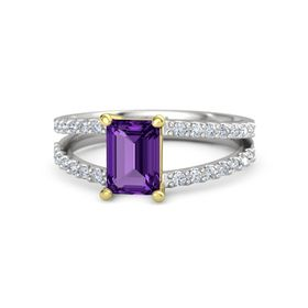 Emerald Amethyst Sterling Silver Ring with Diamond