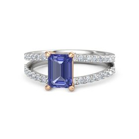 Emerald Tanzanite Sterling Silver Ring with Diamond