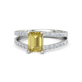 Emerald Yellow Sapphire Sterling Silver Ring with Diamond