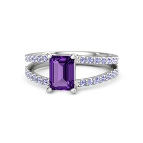 Emerald-Cut Amethyst Sterling Silver Ring with Tanzanite