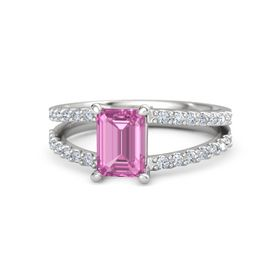 Emerald-Cut Pink Sapphire Sterling Silver Ring with Diamond