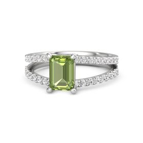 Emerald-Cut Peridot Sterling Silver Ring with White Sapphire