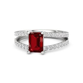 Emerald-Cut Ruby Sterling Silver Ring with White Sapphire