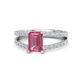 Emerald-Cut Pink Tourmaline Sterling Silver Ring with Diamond