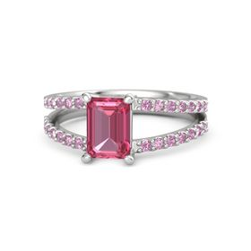 Emerald Pink Tourmaline Sterling Silver Ring with Pink Tourmaline and Pink Sapphire