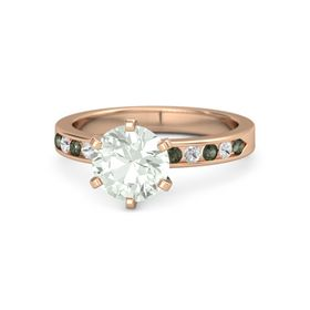 Round Green Amethyst 14K Rose Gold Ring with White Sapphire & Green Tourmaline