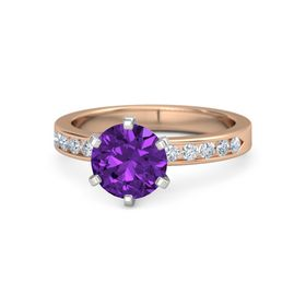 Round Amethyst 14K Rose Gold Ring with Diamond