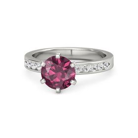 Round Rhodolite Garnet Palladium Ring with White Sapphire