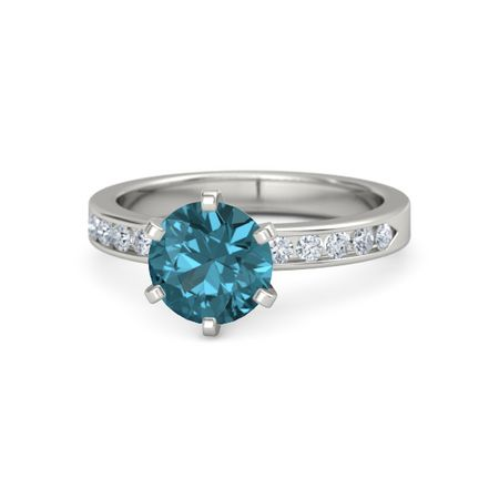 Round London Blue Topaz 14k White Gold Ring With Diamond Claire
