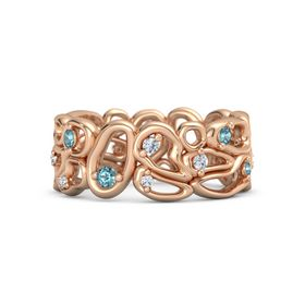 14K Rose Gold Ring with London Blue Topaz and Diamond