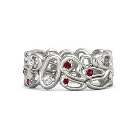 14K White Gold Ring with White Sapphire & Ruby