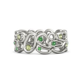 18K White Gold Ring with Peridot & Emerald