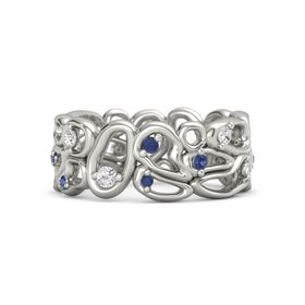 Palladium Ring with White Sapphire & Sapphire