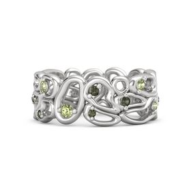 Sterling Silver Ring with Peridot & Green Tourmaline
