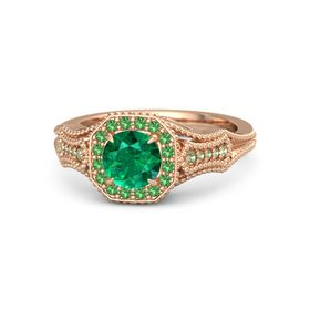 Round Emerald 14K Rose Gold Ring with Emerald and Peridot