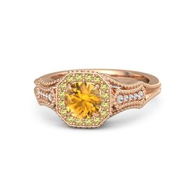 Round Citrine 14K Rose Gold Ring with Yellow Sapphire and White Sapphire