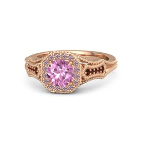 Round Pink Sapphire 14K Rose Gold Ring with Rhodolite Garnet and Red Garnet