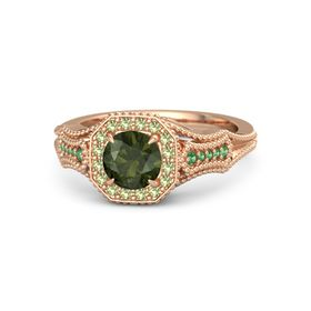 Round Green Tourmaline 14K Rose Gold Ring with Peridot and Emerald