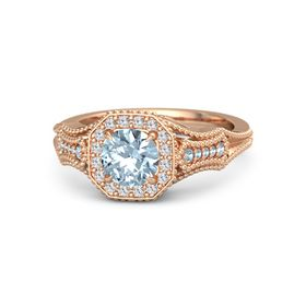 Round Aquamarine 14K Rose Gold Ring with White Sapphire & Aquamarine