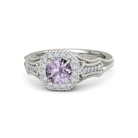 Round Rose de France 14K White Gold Ring with Diamond