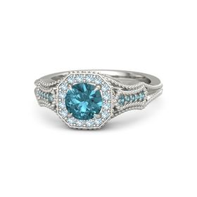 Round London Blue Topaz 14K White Gold Ring with Aquamarine & London Blue Topaz