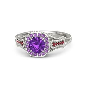 Round Amethyst 14K White Gold Ring with Amethyst and Ruby