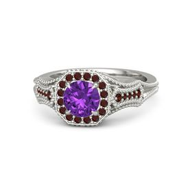 Round Amethyst 14K White Gold Ring with Red Garnet