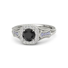 Round Black Diamond 14K White Gold Ring with White Sapphire and Tanzanite