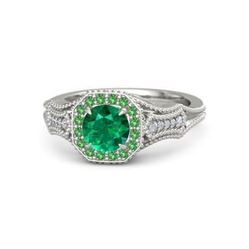 Round Emerald 14K White Gold Ring with Emerald and Diamond