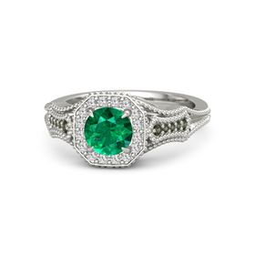 Round Emerald 14K White Gold Ring with White Sapphire & Green Tourmaline