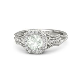 Round Green Amethyst 14K White Gold Ring with White Sapphire