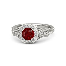 Round Ruby 14K White Gold Ring with White Sapphire