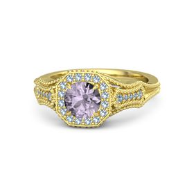 Round Rose de France 14K Yellow Gold Ring with Blue Topaz